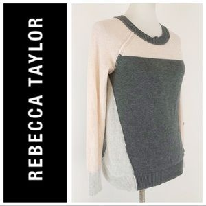 Rebecca Taylor Pink Gray Color Block Sweater